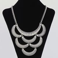 Mode-Fringe-Halskette, Zinklegierung, mit Eisenkette, mit Verlängerungskettchen von 5cm, antik silberfarben plattiert, Twist oval & mit Strass, frei von Blei & Kadmium, 325x50mm, verkauft per ca. 16.5 ZollInch Strang