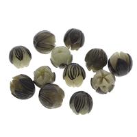 Buddhistische Perlen, Bodhi, Lotus, geschnitzt, originale Farbe, 12-14mm, Bohrung:ca. 1.5mm, 100PCs/Tasche, verkauft von Tasche