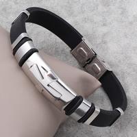 Herren-Armband & Bangle, Edelstahl, mit Silikon, 13x29x8mm, verkauft per ca. 7.5 ZollInch Strang