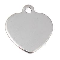 Edelstahl Etikette, Herz, originale Farbe, 16x16x1mm, Bohrung:ca. 1mm, 200PCs/Tasche, verkauft von Tasche