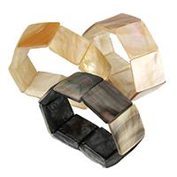 Muschel Schmuck Armband, Quadrat, natürlich, verschiedenen Materialien für die Wahl, 25-26x25-26x6-7mm, Länge:ca. 8 ZollInch, 3SträngeStrang/Menge, verkauft von Menge