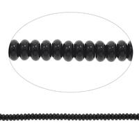 Natürliche schwarze Achat Perlen, Schwarzer Achat, Rondell, verschiedene Größen vorhanden, Bohrung:ca. 1mm, ca. 46PCs/Strang, verkauft per ca. 15 ZollInch Strang