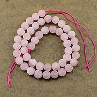 Natürliche Rosenquarz Perlen, rund, verschiedene Größen vorhanden & satiniert, Bohrung:ca. 1-2mm, Länge:ca. 15 ZollInch, verkauft von Menge
