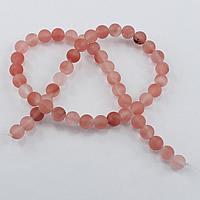 Kirsche Quarz Perle, rund, synthetisch, verschiedene Größen vorhanden & satiniert, Bohrung:ca. 1-2mm, Länge:ca. 15.5 ZollInch, verkauft von Menge