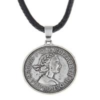 PU-Schnur-Halskette, Zinklegierung, mit PU Leder, mit Verlängerungskettchen von 5cm, Münze, antik silberfarben plattiert, frei von Blei & Kadmium, 25x28x1.50mm, verkauft per ca. 17 ZollInch Strang