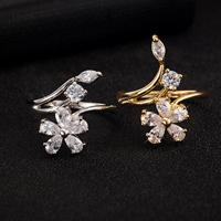 Gets® Finger Ring, Messing, Blume, plattiert, verschiedene Größen vorhanden & mit kubischem Zirkonia & facettierte, keine, frei von Nickel, Blei & Kadmium, 10mm, verkauft von PC