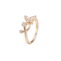 Gets® Finger Ring, Messing, Schmetterling, vergoldet, verschiedene Größen vorhanden & mit kubischem Zirkonia & facettierte, frei von Nickel, Blei & Kadmium, 8mm, verkauft von PC