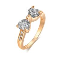 Gets® Finger Ring, Messing, Schleife, vergoldet, verschiedene Größen vorhanden & mit kubischem Zirkonia & facettierte, frei von Nickel, Blei & Kadmium, 14mm, verkauft von PC