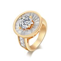 Gets® Finger Ring, Messing, Blume, vergoldet, verschiedene Größen vorhanden & mit kubischem Zirkonia & facettierte, frei von Nickel, Blei & Kadmium, 20mm, verkauft von PC