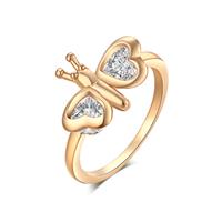 Gets® Finger Ring, Messing, Schmetterling, vergoldet, verschiedene Größen vorhanden & mit kubischem Zirkonia & facettierte, frei von Nickel, Blei & Kadmium, 11mm, verkauft von PC