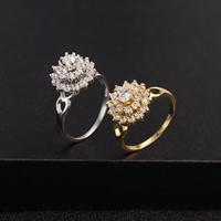 Gets® Finger Ring, Messing, Blume, plattiert, verschiedene Größen vorhanden & mit kubischem Zirkonia, keine, frei von Nickel, Blei & Kadmium, 12mm, verkauft von PC