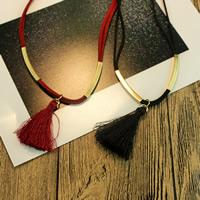 Mode-Fringe-Halskette, Zinklegierung, mit Wollschnur & Nylonschnur, mit Verlängerungskettchen von 2lnch, goldfarben plattiert, 2 strängig, keine, verkauft per ca. 17.3 ZollInch Strang