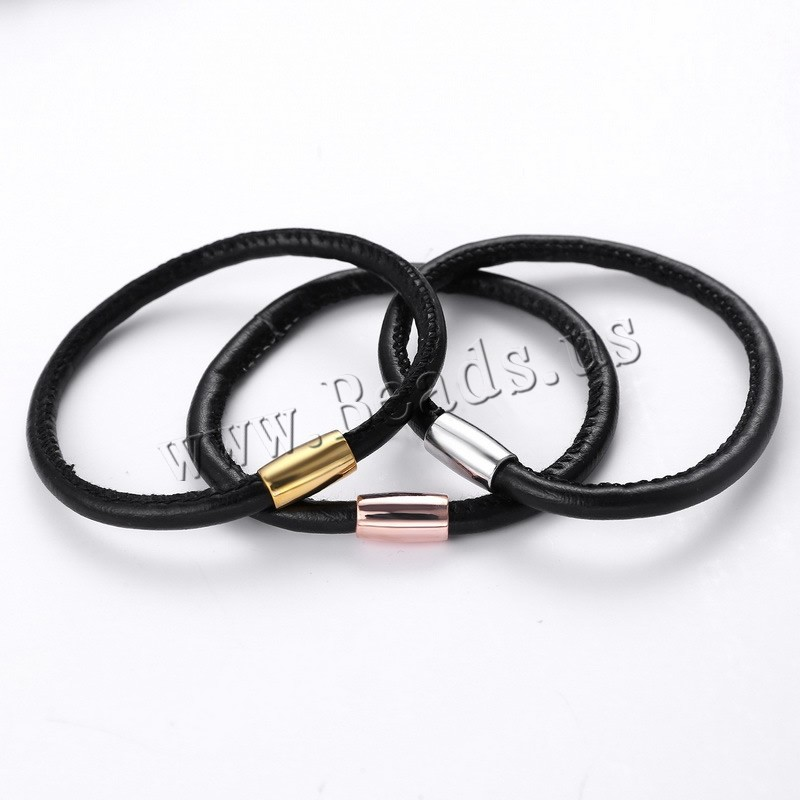Buy PU Leather Cord Bracelets Zinc Alloy plated colors choice lead & cadmium free 60mm Length:Approx 7 Inch 3Strands/Bag Sold Bag