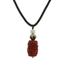Buddhistischer Schmuck Halskette, Cinnabaris, mit Bodhi Wurzel & Bodhi & Nylonschnur, Blume, geschnitzt, rot, 20x30mm, Länge:ca. 23.5 ZollInch, 10SträngeStrang/Tasche, verkauft von Tasche
