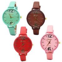 Damen Armbanduhr, PU Leder, mit Glas & Zinklegierung, Spritzlackierung, keine, frei von Nickel, Blei & Kadmium, 38mm, Länge:ca. 9.2 ZollInch, verkauft von PC