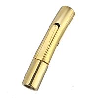 Edelstahl Bajonettverschluss, goldfarben plattiert, 27x7x5mm, Bohrung:ca. 1mm, 3mm, 10PCs/Menge, verkauft von Menge
