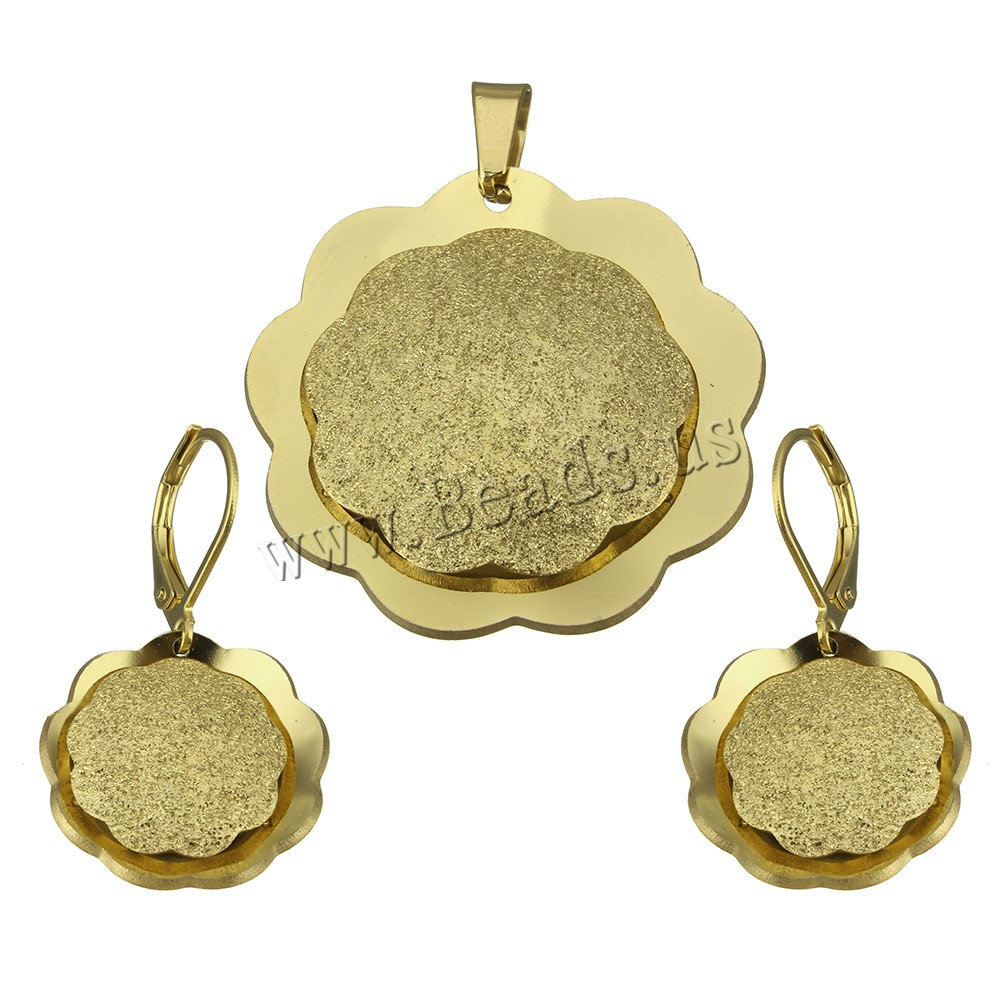 Buy Fashion Stainless Steel Jewelry Sets pendant & earring Flower gold color plated stardust 32x32x4.5mm 19.5x4mm 33.5mm Hole:Approx 4x5.5mm 10Sets/Lot Sold Lot