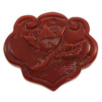 Koralle Anhänger, Natürliche Koralle, Blume, natürlich, geschnitzed, rot, 36x32x6mm, Bohrung:ca. 1mm, verkauft von PC