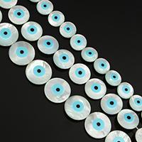 Mode Evil Eye Schmuck Perlen, Weiße Muschel, flache Runde, natürlich, mit Augen-Muster & verschiedene Größen vorhanden & Emaille, Bohrung:ca. 0.5mm, ca. 30PCs/Strang, verkauft von Strang
