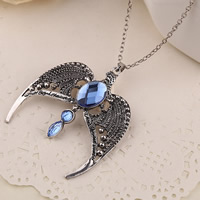Kristall Zinklegierung Halskette, mit Eisenkette & Kristall, Adler, antik silberfarben plattiert, Oval-Kette, frei von Blei & Kadmium, 58x64mm, verkauft per ca. 19.5 ZollInch Strang