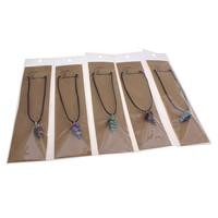 Glas Millefiori Halskette, mit Gewachste Hanfschnur & OPP & Zinklegierung, mit Verlängerungskettchen von 5cm, Pendel, Platinfarbe platiniert, keine, 15x27mm, verkauft per ca. 15.5 ZollInch Strang