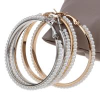 Eisen Kreolen, mit ABS-Kunststoff-Perlen, plattiert, keine, frei von Blei & Kadmium, 55x56x4mm, verkauft von Paar
