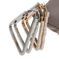 Eisen Kreolen, mit ABS-Kunststoff-Perlen, Dreieck, plattiert, keine, frei von Blei & Kadmium, 50x56x4mm, verkauft von Paar