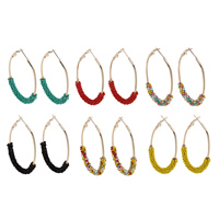Eisen Kreolen, mit Glas-Rocailles, goldfarben plattiert, keine, frei von Blei & Kadmium, 39x62x7mm, verkauft von Paar