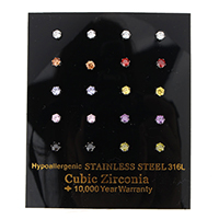 Cubic Zircon (CZ) Stud Earring Stainless Steel with cubic zirconia & faceted mixed colors Sold By Box