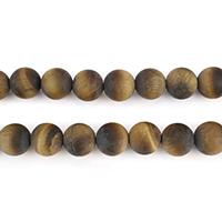 Tigerauge Perlen, rund, natürlich, verschiedene Größen vorhanden & satiniert, Bohrung:ca. 1mm, verkauft per ca. 15.8 ZollInch Strang