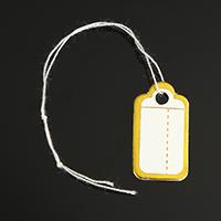 Schmuck Preisschild, Papier, mit Baumwolle, Rechteck, Golddruck, 14x27x0.30mm, 500PCs/Tasche, verkauft von Tasche