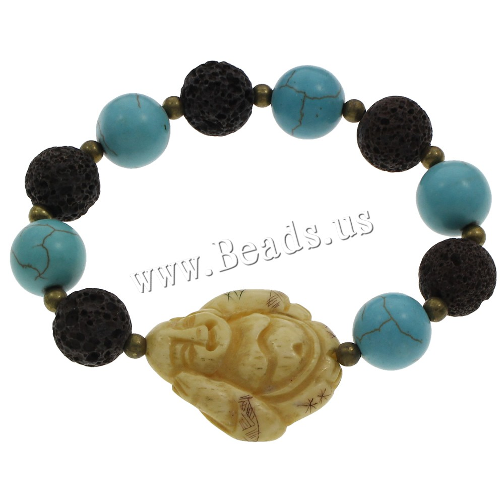 Buy Lava Bracelet Ox Bone & Turquoise Buddha natural Buddhist jewelry 32x27x8mm Sold Per Approx 6 Inch Strand