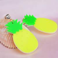 Acryl Tropfen Ohrring, mit Harz, Edelstahl Stecker, Ananas, goldfarben plattiert, fluoreszierende & mit Strass, 60mm, 8mm, verkauft von Paar