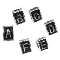 Zink Legierung Europa Alphabet Perlen, Zinklegierung, Dreieck, Platinfarbe platiniert, verschiedene Muster für Wahl & ohne troll & Emaille, frei von Blei & Kadmium, 7x10mm, Bohrung:ca. 5mm, 10PCs/Tasche, verkauft von Tasche