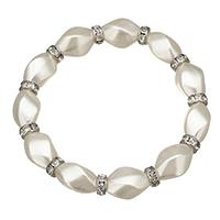 Glas Perlen-Armband, Glasperlen, mit Messing Strass Zwischenstück, Platinfarbe platiniert, 16.5x11mm, 3x6.5mm, Länge:ca. 7 ZollInch, 10SträngeStrang/Menge, verkauft von Menge