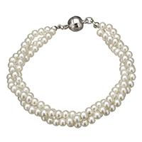 Glas Perlen-Armband, Glasperlen, Zinklegierung Magnetverschluss, Platinfarbe platiniert, 9x8mm, 16x10mm, Länge:ca. 7.5 ZollInch, 10SträngeStrang/Menge, verkauft von Menge