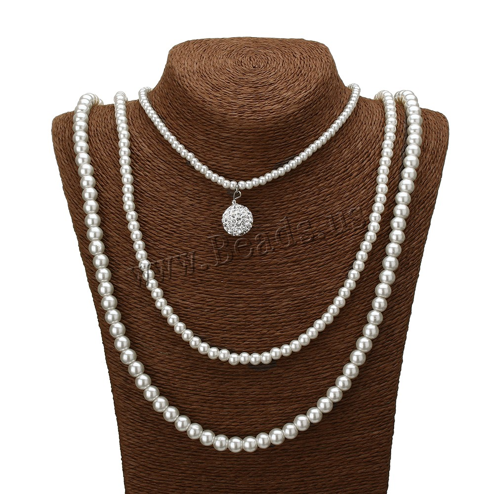 Buy Sweater Chain Necklace Glass Pearl Rhinestone Clay Pave Bead zinc alloy lobster clasp platinum color plated 3-strand 15.5x23mm 7x8mm 5x6mm 3.5x4.5mm Length:Approx 32 Inch 5Strands/Lot Sold Lot