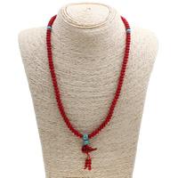 Natürliche Koralle Halskette, mit Synthetische Türkis, Kalebasse, 11x23mm, Länge:ca. 19.5 ZollInch, 12SträngeStrang/setzen, verkauft von setzen