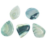 Spitze Achat Anhänger, Streifen Achat, blau, 35x47x6mm-47x45x6mm, Bohrung:ca. 1.5mm, 10PCs/Tasche, verkauft von Tasche