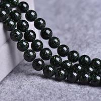 Grüne Goldstein Perlen, grüner Goldsandstein, rund, synthetisch, verschiedene Größen vorhanden, Bohrung:ca. 1-2mm, verkauft per ca. 14 ZollInch Strang