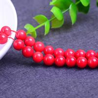 Synthetische Koralle Perle, rund, verschiedene Größen vorhanden, Bohrung:ca. 1mm, Länge:ca. 15 ZollInch, verkauft von Menge