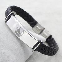 PU Schnur Armbänder, Edelstahl, mit PU Leder, geflochten, originale Farbe, 38x12x5mm, verkauft per ca. 8.5 ZollInch Strang
