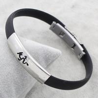 Silikon Armbänder, Edelstahl, mit Silikon, originale Farbe, 36x9x5mm, verkauft per ca. 7.5 ZollInch Strang