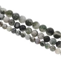 Natürliche Moos Achat Perlen, rund, verschiedene Größen vorhanden, Bohrung:ca. 1mm, verkauft per ca. 15 ZollInch Strang