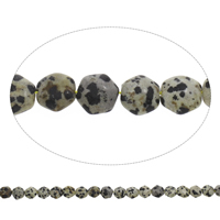 Dalmatinische Perlen, Dalmatiner, Sechseck, 11x10x5mm, Bohrung:ca. 1mm, ca. 38PCs/Strang, verkauft per ca. 15 ZollInch Strang