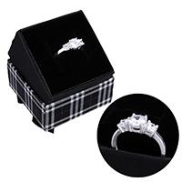 kiss me® Finger Ring, 925 Sterling Silber, mit Karton-box, mit kubischem Zirkonia, 6mm, Größe:6, verkauft von PC