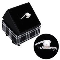 kiss me® Finger Ring, 925 Sterling Silber, mit Karton-box & Natürliche kultivierte Süßwasserperlen, natürlich, Micro pave Zirkonia, 9mm, Größe:7, verkauft von PC