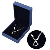 kiss me® Schmuck Halskette, 925 Sterling Silber, mit Karton-box, Herz, Kastenkette & Micro pave Zirkonia, 11.5x14.5x2mm, 1mm, verkauft per ca. 16 ZollInch Strang