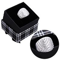 kiss me® Finger Ring, 925 Sterling Silber, mit Karton-box, Micro pave Zirkonia, 17.50mm, Größe:8, verkauft von PC