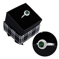 kiss me® Finger Ring, 925 Sterling Silber, mit Karton-box, Micro pave Zirkonia & facettierte, 9.50mm, Größe:7, verkauft von PC
